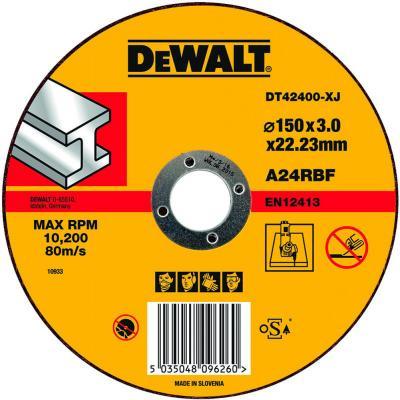 цена на Круг отрезной DeWALT DT42400-XJ для УШМ 150х22.2х3мм тип 1 плоский по металлу
