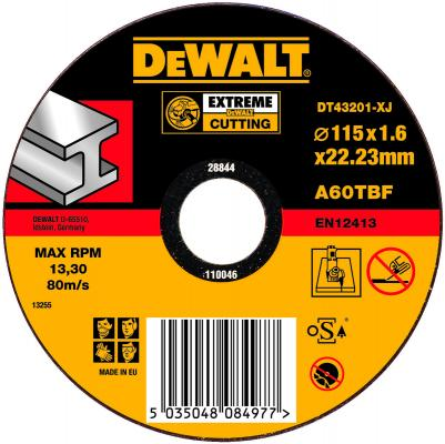 цены Круг отрезной DeWALT DT43201-XJ для УШМ 115х22.2х1.6мм EXTREME тип 1 плоский по металлу