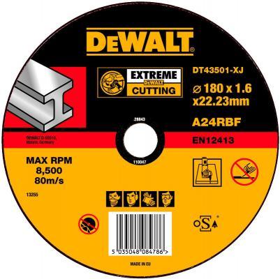цена на Круг отрезной DeWALT DT43501-XJ для УШМ 180х22.2х1.6мм EXTREME тип 1 плоский по металлу