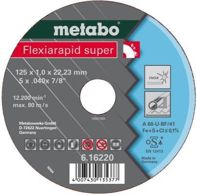 Круг отрезной METABO 616216000 Flexiarapid S 115x1.0мм прямой A60U по нержавеющей стали круг отрезной metabo 180х1 6х22 616508000