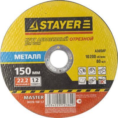 Круг отрезной STAYER MASTER 36220-150-1.2_z01 абразивный для УШМ 150х1.2х22.2мм по металлу абразивный круг для эшм dexter p120 150 мм 5 шт