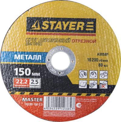Круг отрезной STAYER MASTER 36220-150-2.5 абразивный для УШМ 150х2.5х22.2мм по металлу цена
