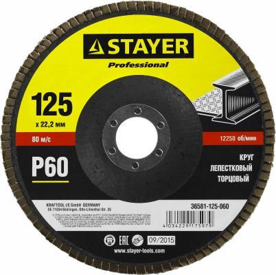 Круг Лепестковый Торцевой КЛТ STAYER PROFI 36581-125-060 P60 125х22.2мм