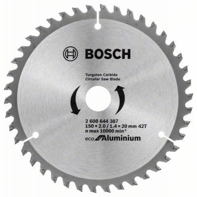 Диск пильный твердосплавный BOSCH ECO AL 150x20-42T (2.608.644.387) по алюминию диск пильный твердосплавный bosch eco al 254x30 96t 2 608 644 395