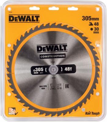 Круг пильный твердосплавный DEWALT DT1959-QZ Ф305/30 48 ATB +10° CONSTRUCTION по дереву с гвоздями пильный диск construct 305х30 мм 48 atb dewalt dt1959