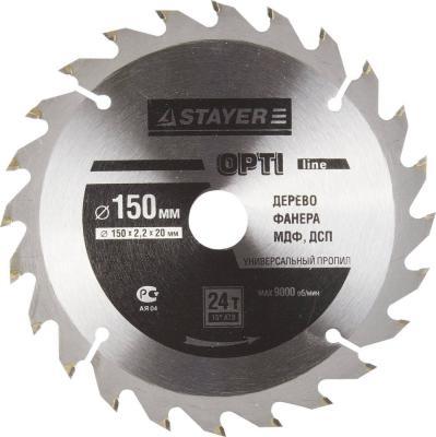 Круг пильный твердосплавный STAYER MASTER 3681-150-20-24 opti-line по дереву 150х20мм 24T цена