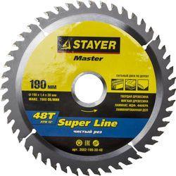Круг пильный твердосплавный STAYER MASTER 3682-190-30-48 super-line по дереву 190х30мм 48T ножовка по дереву stayer master super cut