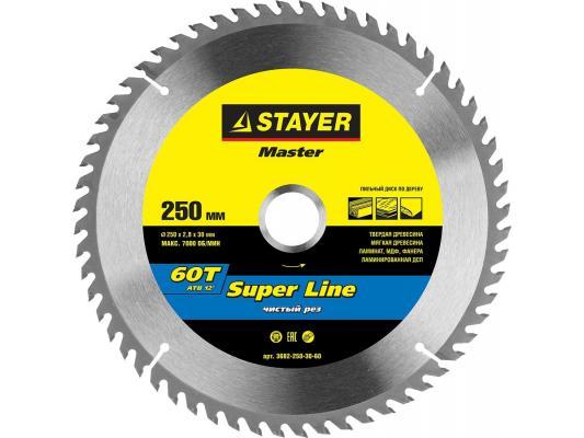 Круг пильный твердосплавный STAYER MASTER 3682-250-30-60 super-line по дереву 250х30мм 60T ножовка по дереву stayer master super cut
