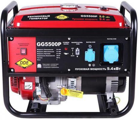 Генератор бензиновый DDE GG5500P однофазн.ном/макс. 5,0/5,5/9.4 кВт (DDE H188F, т/бак 25л,, 82кг) бензиновый генератор dde dpg2551