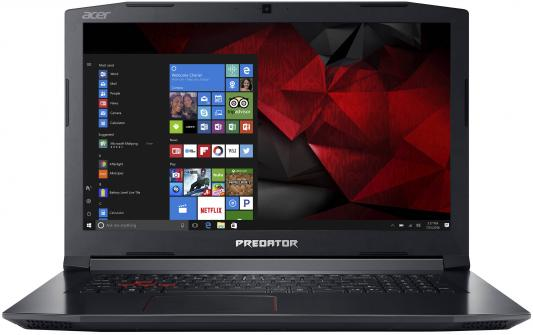 Ноутбук Acer Predator Helios 300 PH317-51-74JQ Core i7 7700HQ/8Gb/1Tb/SSD128Gb/nVidia GeForce GTX 1050 Ti 4Gb/17.3/IPS/FHD (1920x1080)/Windows 10/black/WiFi/BT/Cam ноутбук acer predator g9 793 72qz 17 3 3840x2160 intel core i7 7700hq 2tb 512 ssd 32gb nvidia geforce gtx 1070 8192 мб черный windows 10 home nh q1uer 005