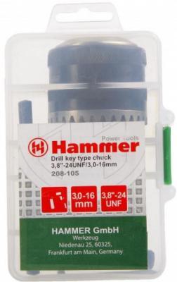 цена на Патрон Hammer Flex 208-105 CH-1 3,0-16мм/3,8-24UNF 3,0-16мм + переходник SDS+