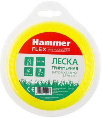 Леска триммерная Hammer Flex 216-203 2.7мм*15м сечение - витой квадрат, нож цена