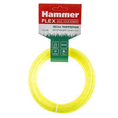 Леска триммерная Hammer Flex 216-208 на подвесе, 2.0мм*15м, витой квадрат цена