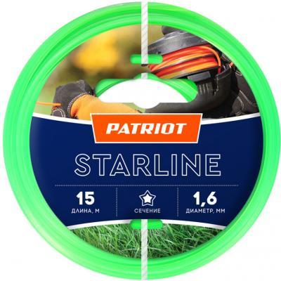 Леска для триммеров PATRIOT Starline D 1,6мм L 15м звезда, зеленая 165-15-3 Арт 805201051 леска для триммеров patriot starline d 3 0мм l 15м звезда зеленая 300 15 3 арт 805201066