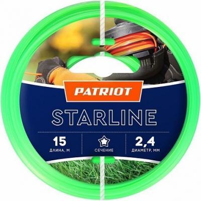 Леска для триммеров PATRIOT Starline D 2,4мм L 15м звезда, зеленая 240-15-3 Арт 805201061 леска starline d 3 0 мм l 15 м звезда блистер пр во россия 805205013