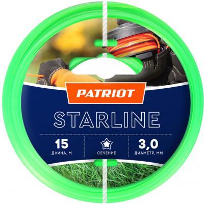 Леска для триммеров PATRIOT Starline D 3,0мм L 15м звезда, зеленая 300-15-3 Арт. 805201066 леска для триммеров patriot starline d 1 6мм l 15м звезда зеленая 165 15 3 арт 805201051