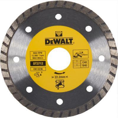 Диск алм. DeWALT DT3712-QZ со сплошной кромкой Turbo универсальн., 125x22.2x2.2мм диск алм dewalt dt3714 qz dewalt® для плиткореза dwc410 110x20x1 6мм