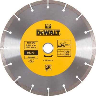 Диск алм. DeWALT DT3731-QZ сегментный универсальный, 230x22.2x2.3мм диск алм dewalt dt3714 qz dewalt® для плиткореза dwc410 110x20x1 6мм