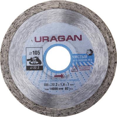 Круг алмазный URAGAN 909-12171-105 сплошной влажная резка для УШМ 105х22.2мм круг алмазный uragan 909 12172 150