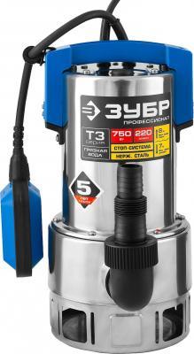Насос ЗУБР НПГ-Т3-750-С профессионал т3 погружной дренажный для грязной воды d частиц до 35мм 750В насос погружной зубр нпг т3 400
