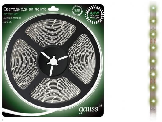 Лента светодиодная GAUSS 312000605 LED 2835/60-SMD 4.8W 12V DC зеленый блистер 5м t10 5w 450lm 10 smd 5630 led yellow light car clearance signal lamps dc 12v 2 pcs