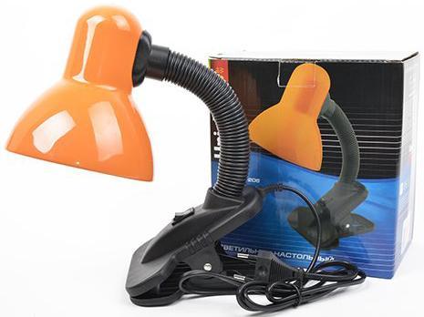 Лампа настольная UNIEL TLI-206 Orange  60 Ватт, E27, на прищепке, оранжевый