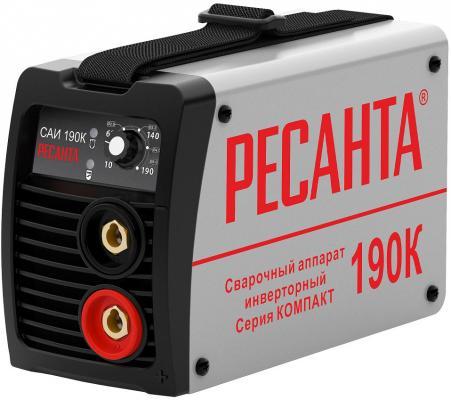 Инвертор сварочный РЕСАНТА САИ 190К компакт 220±10% MMA 10-190А 70% 80В max5мм IP21 инвертор сварочный ресанта саи 250к компакт 220±10