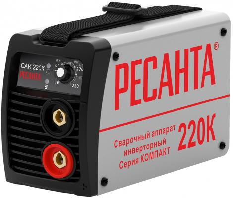 Инвертор сварочный РЕСАНТА САИ 220К компакт 220±10% MMA 10-220А 70% max5мм IP21 инвертор сварочный ресанта саи 250к компакт 220±10