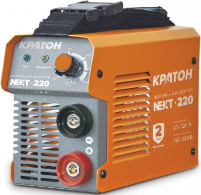 Инвертор КРАТОН NEXT-220 MMA IGBT 20-220А ПВ 60% 150-260в электроды 1.6-5мм 3.8кг