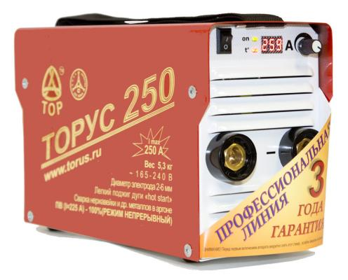 Инвертор сварочный ТОРУС 250 НАКС 8.2кВт 165-242В 40-250А 2.0-6.0мм ПВ80% ММА и TIG