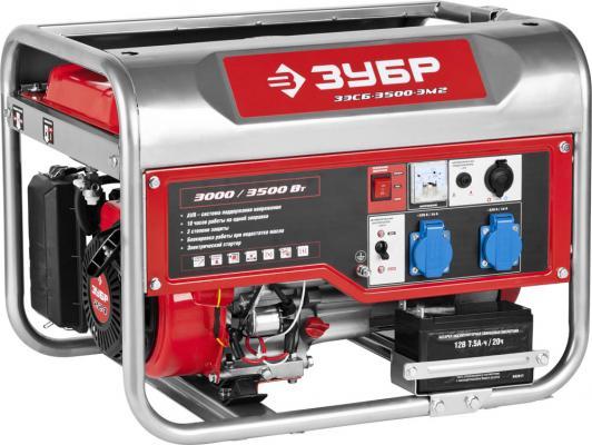 Бензиновый генератор ЗУБР ЗЭСБ-3500-ЭМ2 3000/3500Вт 220/12В 4ткт ручной и электрический пуск электрический генератор и электростанция dde dpg 10553 e