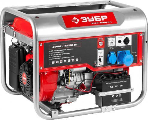 Генератор ЗУБР ЗЭСБ-4500-ЭА бензиновый 4-х тактный ручной и электрический пуск автоматический пуск электрический генератор и электростанция dde dpg 10553 e