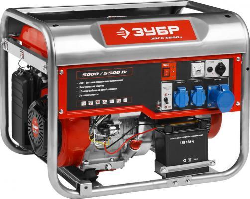 цена Генератор ЗУБР ЗЭСБ-5500-Э бензиновый 4-х тактный ручной и электрический пуск 5500/5000Вт 220/12в