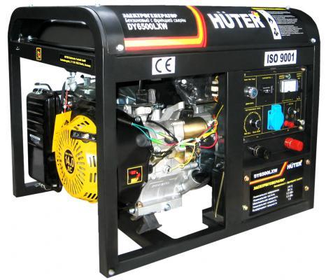 Бензоэлектростанция HUTER DY6500LXW 5,0кВт 50Гц бак22л 374г/кВтч 72кг ф-я сварки 60-200А колёса