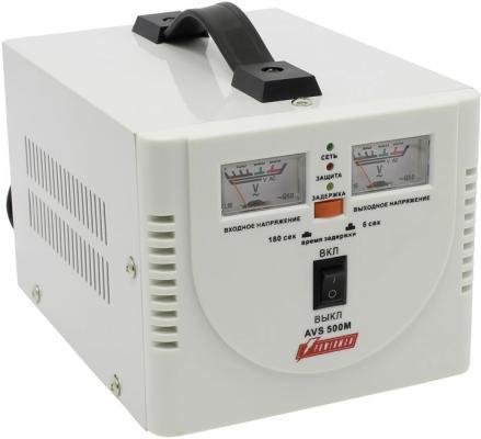 Стабилизатор POWERMAN AVS 500M 500ВА 5А КПД 98% аналог. индикация вх./вых. напряж. lomon черный 500m