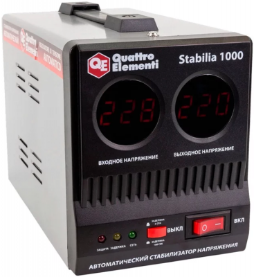цена на Стабилизатор QE Stabilia 1000 однофазный, цифровой 220В 1000ВА вх.:140-270В