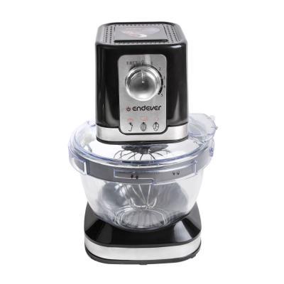 27-Sigma Endever миксер с чашей планетарный,черный, мощность 600 Вт, объем стекл.чаши 4, л.