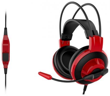 Игровая гарнитура проводная MSI DS501 красный черный S37-2100920-SV1 игровая гарнитура проводная marvo h8312 bk rd красный черный