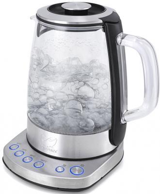 Чайник KITFORT KT-626 2200 Вт серебристый 1.5 л стекло чайник kitfort kt 620 1 2200 вт белый чёрный 1 7 л нержавеющая сталь
