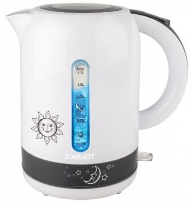 цена на Чайник электрический Scarlett SC-EK18P38 1.7л. 2200Вт белый/серый (корпус: пластик)