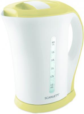 Чайник электрический Scarlett SC-EK14E07 1.7л. 2200Вт белый/бежевый (корпус: пластик) чайник электрический scarlett sc ek18p15 2200вт красный