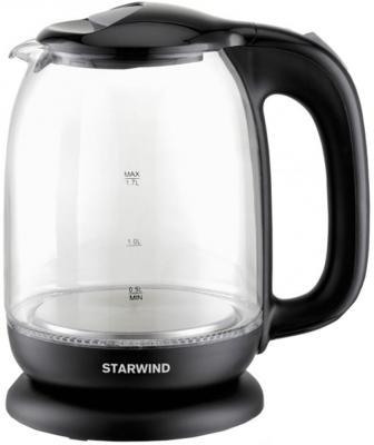Чайник электрический Starwind SKG1210 1.7л. 2200Вт черный (корпус: стекло) чайник электрический starwind skp2212 белый черный