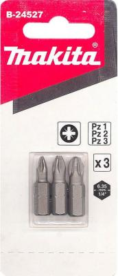 Набор бит MAKITA B-24527 Pz1,Pz2,Pz3, 25мм, 3шт бита makita b 23612 т20 25мм 3шт