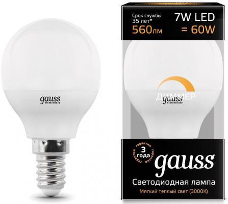 Лампа светодиодная шар Gauss 105101107-D E14 7W 3000K