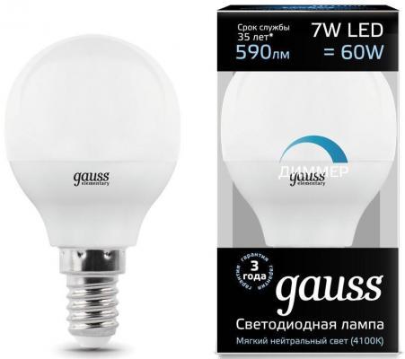 Лампа светодиодная шар Gauss 105101207-D E14 7W 4100K gauss лампа светодиодная gauss шар матовый e14 10w 4100k 53120