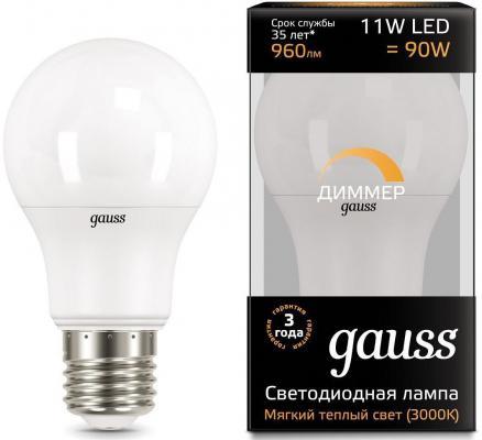 Лампа светодиодная груша Gauss 102502111-D E27 11W 3000K