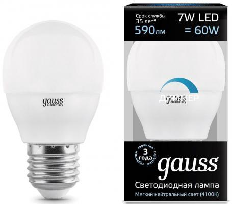 Лампа светодиодная шар Gauss 105102207-D E27 7W 4100K gauss лампа светодиодная gauss шар матовый e27 6w 4100k 53226