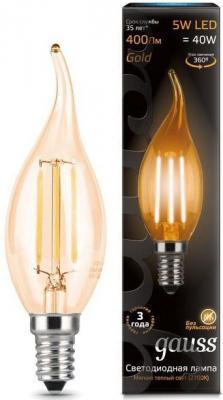 Лампа светодиодная свеча на ветру Gauss 104801005 E14 5W 2700K