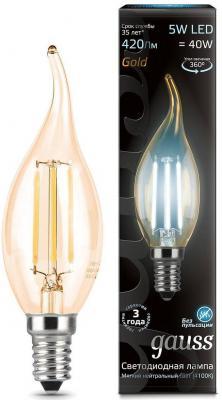 Лампа светодиодная свеча на ветру Gauss 104801805 E14 5W 4100K gauss лампа светодиодная gauss свеча прозрачная e14 5w 4100k 103801205