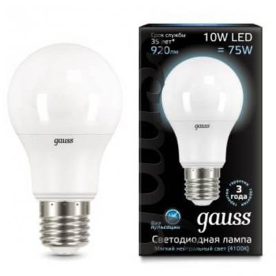 Фото - Лампа светодиодная груша Gauss 102502210 E27 10W 4100K лампа светодиодная gauss 102502210 s led a60 10w e27 4100k step dimmable 1 10 50